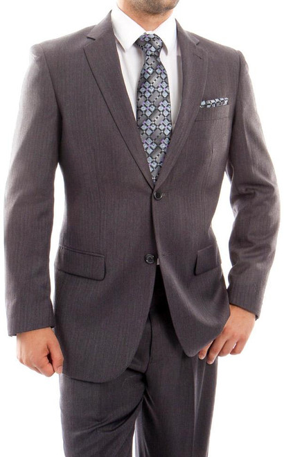 Men's 2 Button Gray Wool Dress Suit New