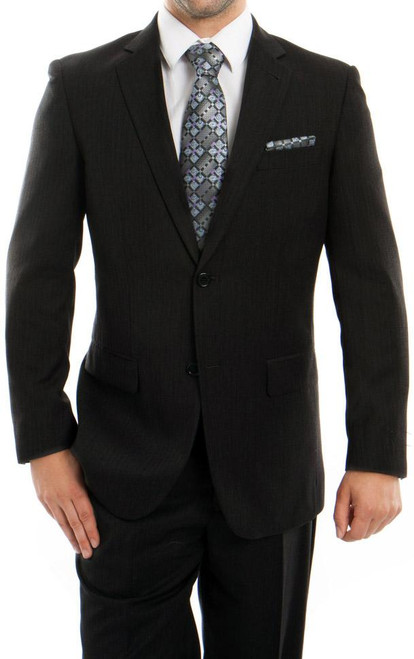Men's 2 Button Black Wool Dress Suit
