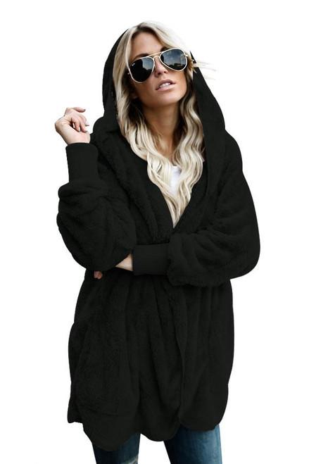 Black Hooded Open Front Soft Fleece Coat