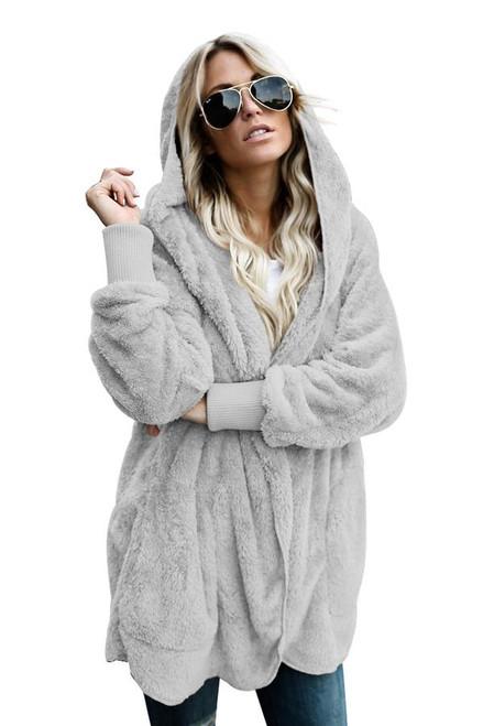Grey Hooded Open Front Soft Fleece Coat