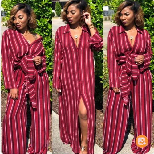 Striped Chiffon 2pc Sets Leisure Trouser Suits