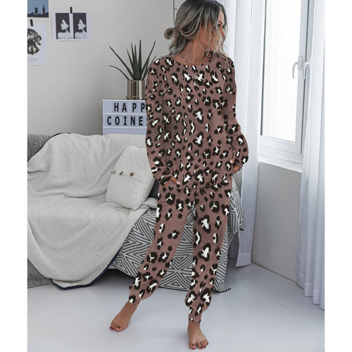 Casual Leopard Suits Women's Long Sleeve Elastic Waist