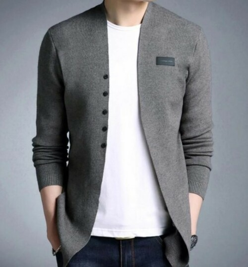 Men's Slim Fit Cardigan with Button Design