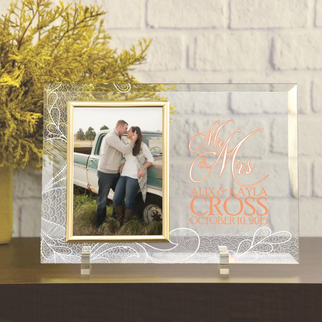 Printed Glass Wedding Picture Frame Mr Mrs