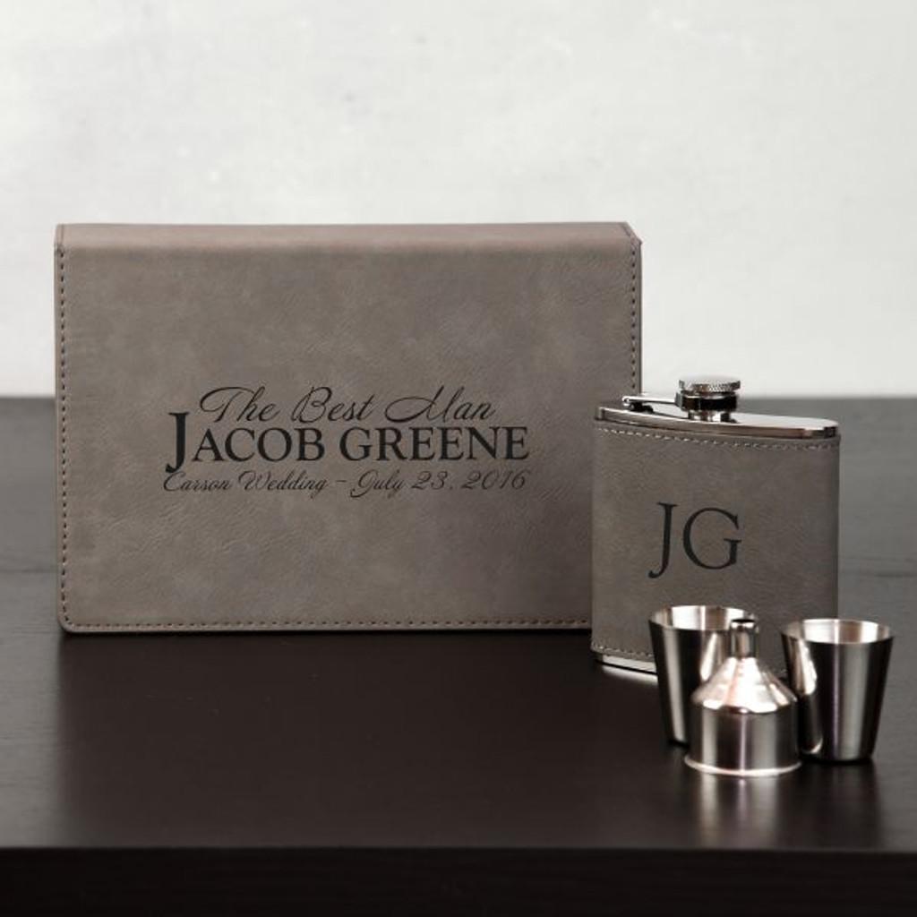 Personalized Groomsmen Flask Set
