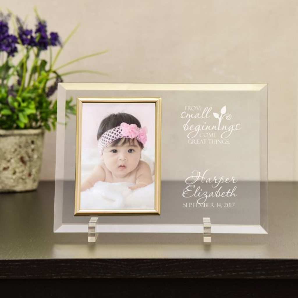 Personalized Glass Baby Picture Frame Small Beginnings