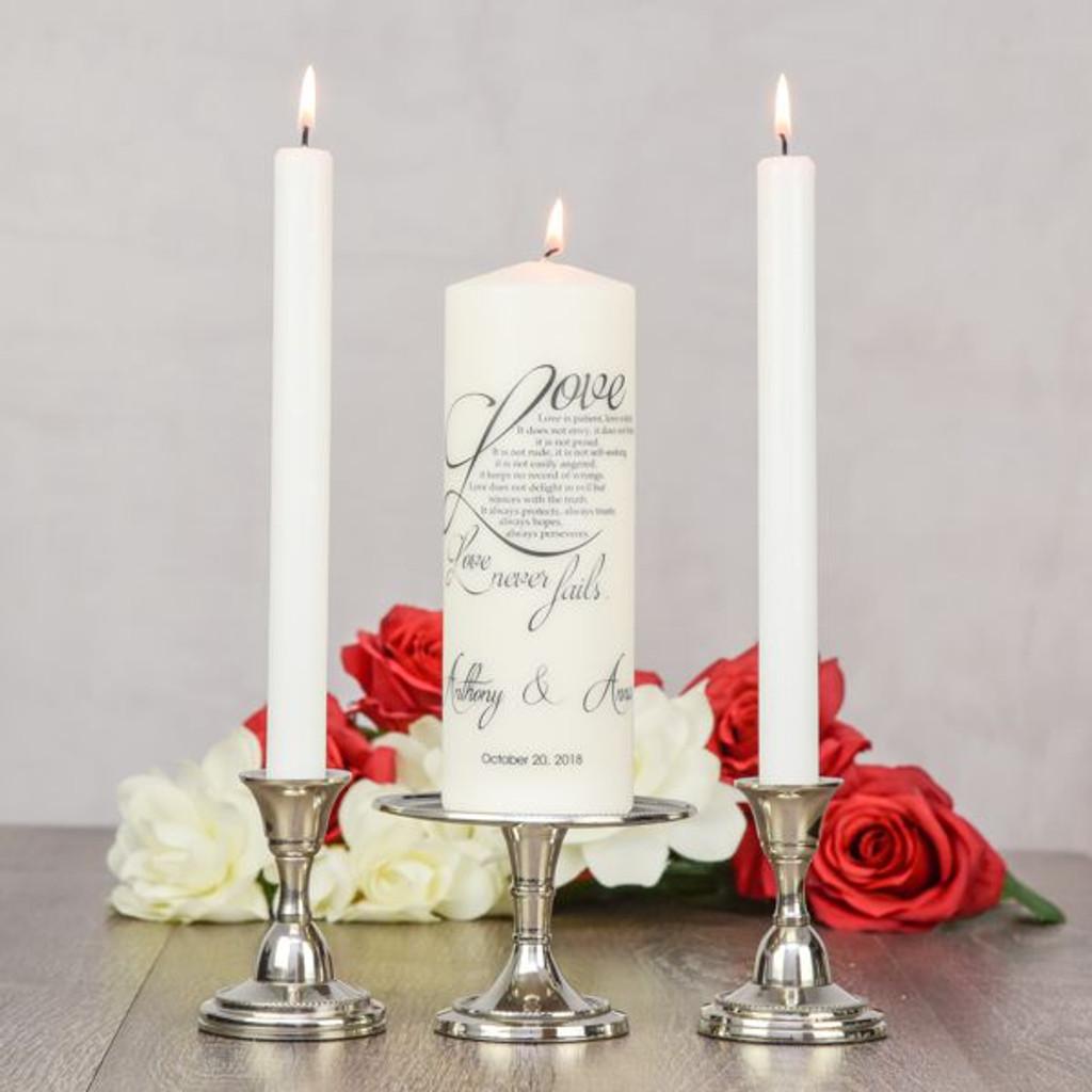 Love Never Fails Custom Unity Candle