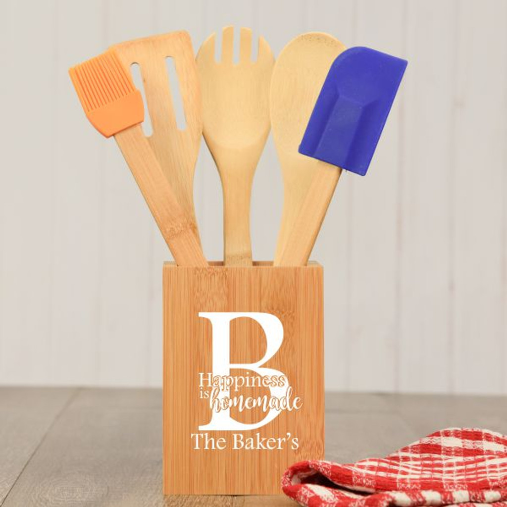 Happiness Is Homemade Personalized Kitchen Utensil Holder