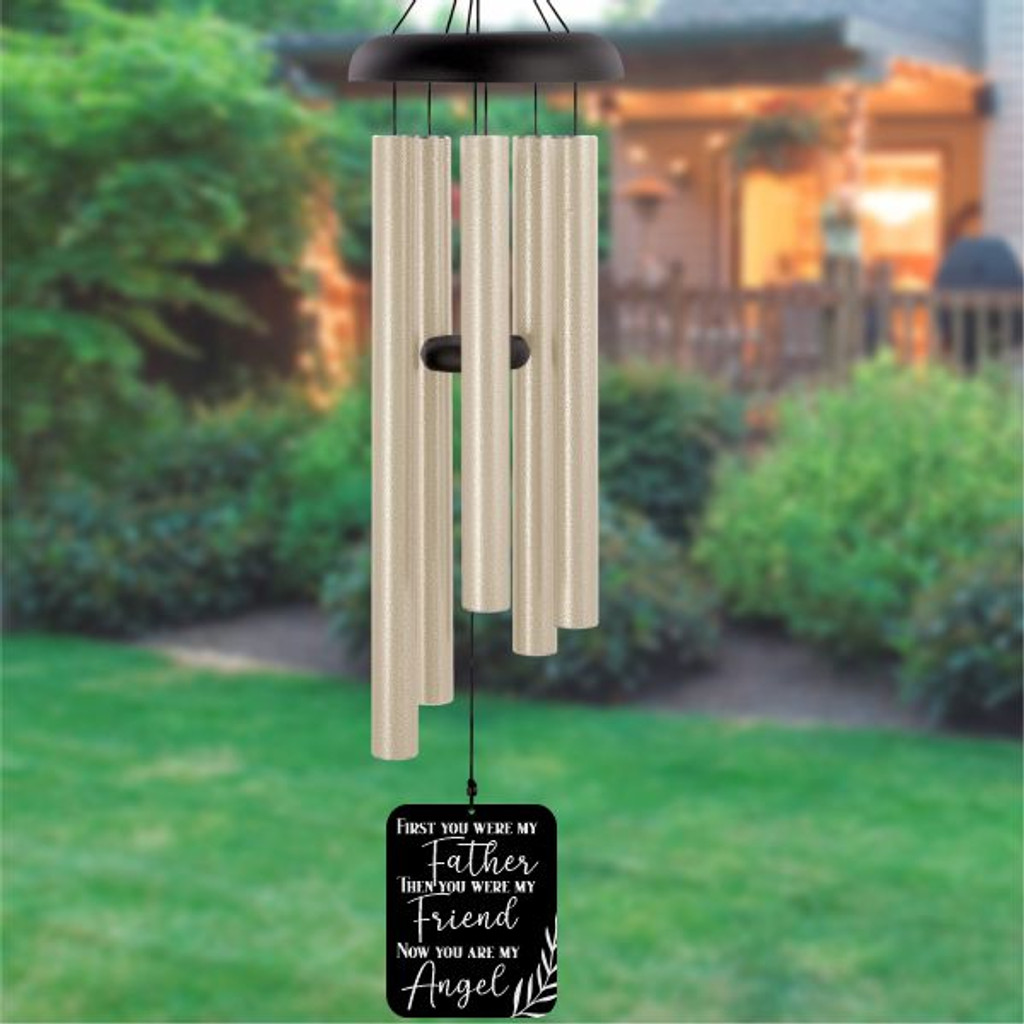 """Seeking a memorial way to honor your beloved dad? This My Father My Angel Wind Chime will be a good choice for you. You can add the name, date, or even a loving message, like """"happy fathers day in heaven dad"""", or """" thank you, dad"""". Hang this memorial gift outdoors or indoor as a decoration and every time you see it, it'll bring you back to the unforgettable memories that you two had experienced together."""