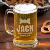 Bow Tie Personalized Groomsman Beer Mug