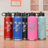 Engraved cheerleader water bottle comes in 5 colors