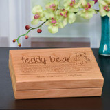Wooden Memorial Box with Teddy Bear Poem  and Personalized
