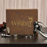 5 Piece Personalized Brown Winery Set