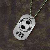 Jersey Number Soccer Dog Tag
