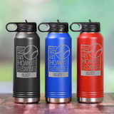 Engraved Baseball Water Bottle