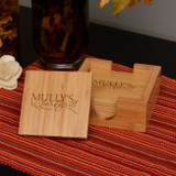 My Bar & Grill Bamboo Coaster Set