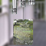 Wind chime sail is printed with A Father's Goodbye poem