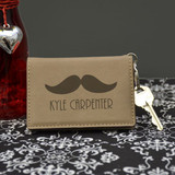 Personalized Mustache Key Chain Wallet in Light Brown