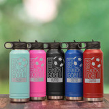 Engraved soccer water bottle in 5 colors