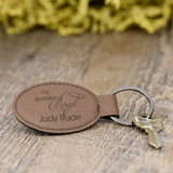 Guardian Angel Oval Key Chain In Dark Brown
