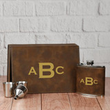 Monogram Flask Set in Brown
