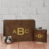 Monogram Flask Set in Brown