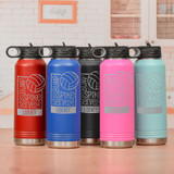 Personalized volleyball waterbottles in a variety of colors