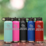 Personalized Cross Country water bottles in a variety of colors