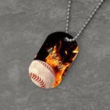Feel the Fire Baseball Dog Tag