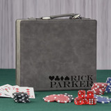 4 Suits Personalized Gray Poker Set