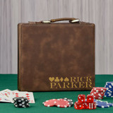 4 Suits Personalized Brown Poker Set