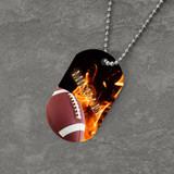Feel the Fire Football Dog Tag