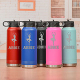 Personalized dance water bottle in a variety of colors.