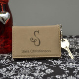 Women's Light Brown Initial Key Chain Wallet