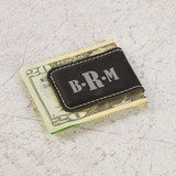 Personalized Monogram Money Clip Shown in Black