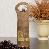 Mr. and Mrs. Personalized Wine Bag Shown in Brown