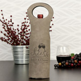 Personalized Wine Bag Shown in Gray