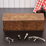 Personalized Wine Box Available in Brown