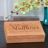 Mr. & Mrs. Wedding keepsake box engraved with last name and wedding date