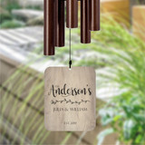 Personalized wind chime housewarming gift with family name