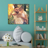 Personalized wall canvas with a picture and embellished with the word love