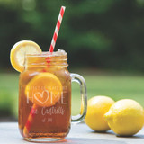 No Place Like Home Family Mason Jar Glass