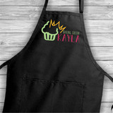 Baking Queen personalized apron with her fist name has a cupcake and tiara  design.