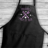 Apron says happiness is made by her and is personalized with first name !