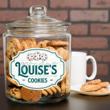 Personalized cookie jar for Grandma has her name on it.