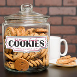 Personalized cookie jar is made of glass and has family last name.