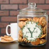 Personalized cookie jar has family last name and initial in a floral frame