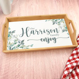 Personalized Bamboo Serving tray has family last name.