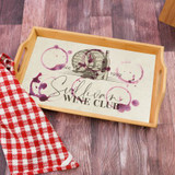 Personalized serving try features family last name and wine graphics to look like wine stain rings.