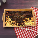 Personalized Grilling Serving Tray is personalized with first name and a flame graphic